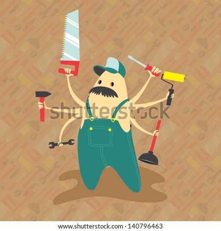 Helpful handyman with great mustache and multiple arms ready to help around the house. - stock vector