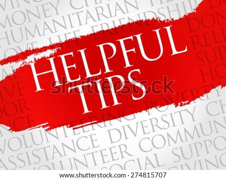 Helpful tips word cloud concept - stock vector