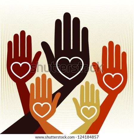 Helpful united hands vector. - stock vector