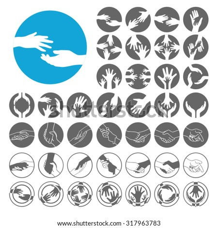 Helping Hand icons set. Illustration EPS10 - stock vector