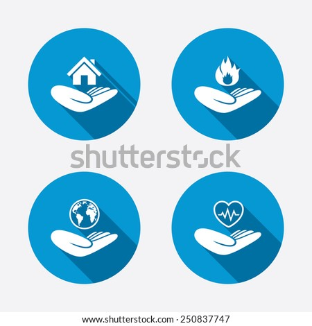 Helping hands icons. Health and travel trip insurance symbols. Home house or real estate sign. Fire protection. Circle concept web buttons. Vector - stock vector