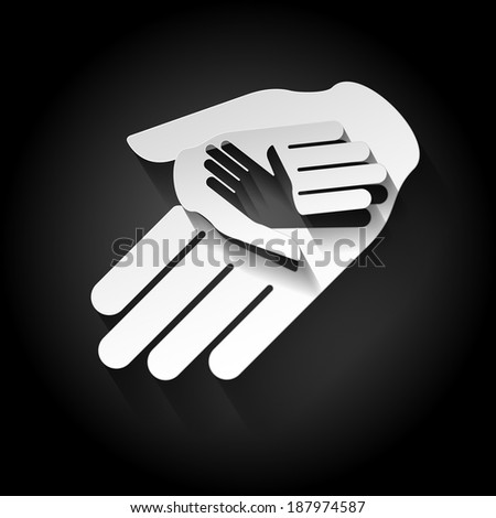 Helping hands  sign in paper style as idea of help and teamwork - stock vector