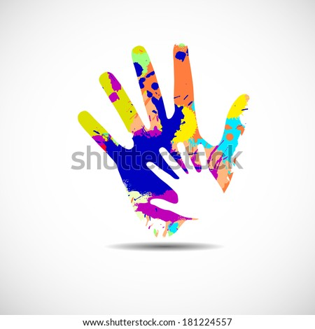 Helping hands. Vector illustration on white background - stock vector