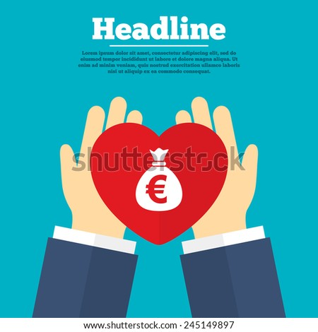 Helping hands with heart. Money bag sign icon. Euro EUR currency symbol. Charity symbol with headline. Vector - stock vector