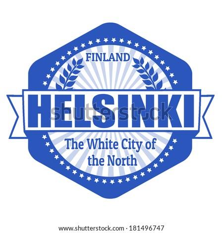 Helsinki capital of Finland label or stamp on white, vector illustration - stock vector