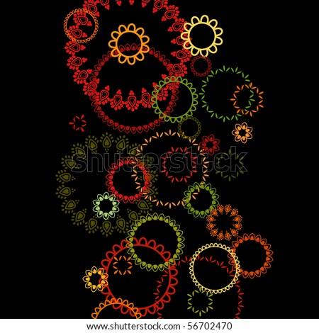 Henna Abstract circles design - stock vector