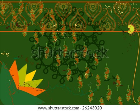 Henna Abstract lotus background - stock vector