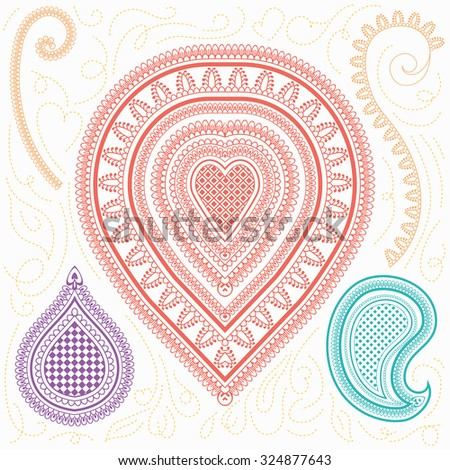 Henna and paisley tattoo doodle - stock vector