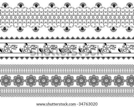 Henna design border - stock vector