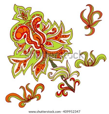 Henna floral tattoo design, ornamental decoration. Vector illustration. Doodle. Trace ink drawing illustration. Vintage, boho style - stock vector