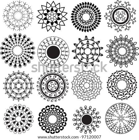 Henna mandala design - Very detailed and easily editable - stock vector