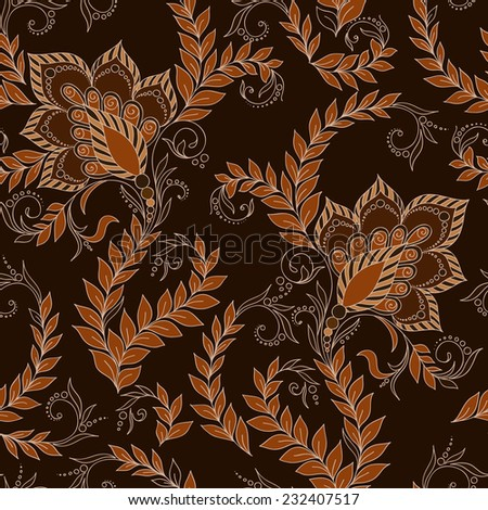 Henna Mehendi Tattoo Doodles Seamless Pattern on a brown background - stock vector