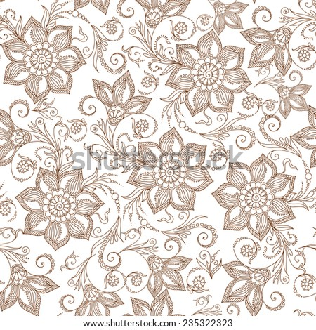 Henna Mehendi Tattoo Doodles Seamless Pattern on a white background - stock vector