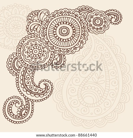 Henna Mehndi Doodles Abstract Floral Mandala and Paisley Vector Illustration Design Elements - stock vector