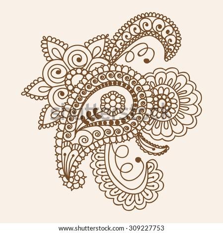 Henna Mehndi Doodles Abstract Floral Paisley Design Elements, Mandala, and Page Corner Design Vector Illustration - stock vector