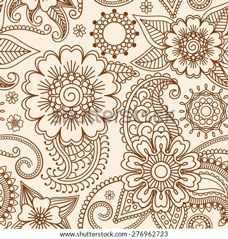 Henna mehndi tattoo doodle seamless pattern vector background - stock vector