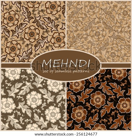 Henna Mehndi Tattoo Doodles Seamless Pattern Background Collection. Flowers Illustration Design Elements - stock vector