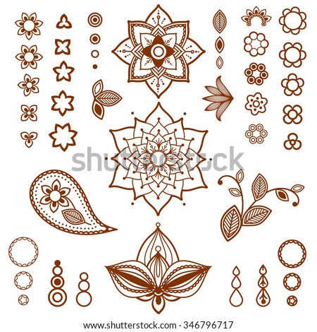 Henna ornamental floral elements. Mehndi style. Different types of flowers, petals, buds, leaves for mehndi tattoo design. - stock vector
