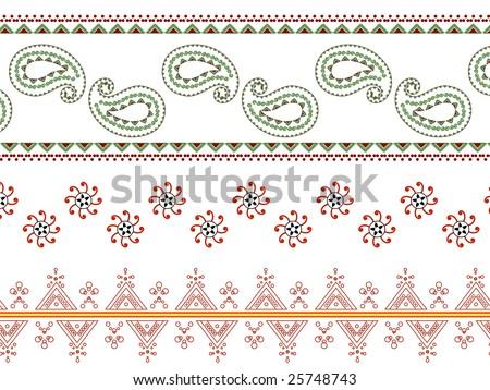 Henna paisely border - stock vector
