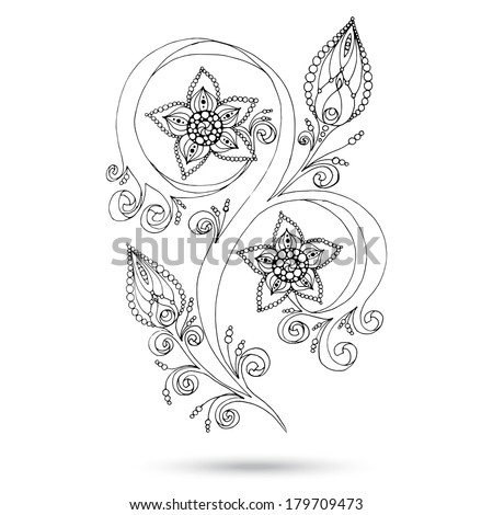 Henna Paisley Mehndi Doodles Abstract Floral Vector Illustration Design Element. Colored Version. - stock vector