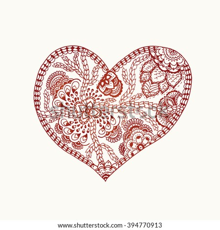 Henna paisley Vector heart shaped background. Doodle zentangle pattern adult and children coloring book, black and white zentangle background for valentines day greeting card. paisley hand made heart - stock vector