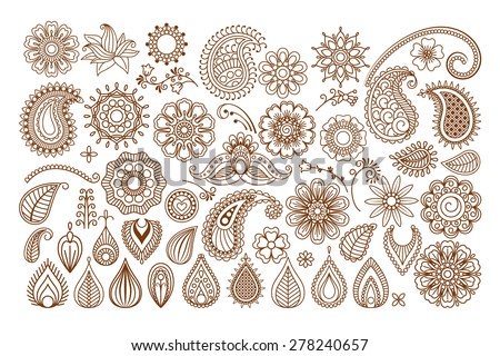 Henna tattoo doodle vector elements on white background - stock vector