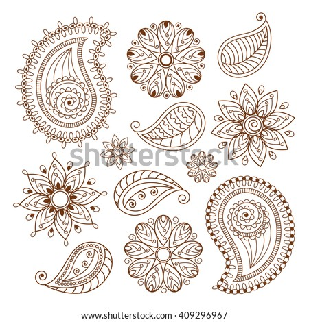 Henna tattoo mehndi doodle elements on white background - stock vector