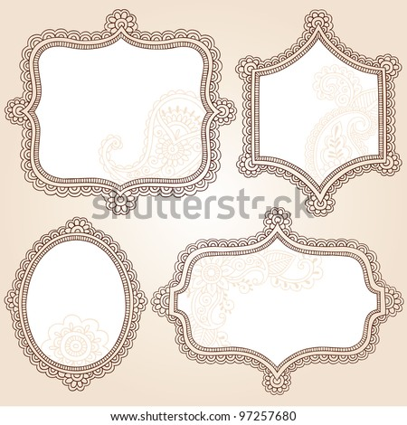 Henna Vintage Frames Mehndi Doodles Paisley Design Elements Set- Vector Illustration - stock vector