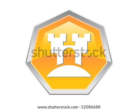 Heptagon Castle Design Button Icon - stock vector