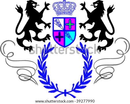 heradlic lion arms - stock vector