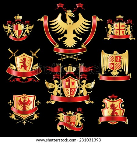Heraldic coat of arms decorative labels gold and red set with royal crowns and animals isolated vector illustration - stock vector