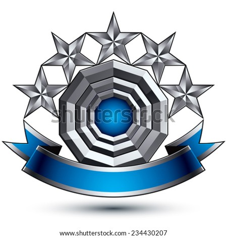 Heraldic 3d glossy blue and gray icon - can be used in web and graphic design, five-pointed silver stars placed over rounded magnificent element with elegant ribbon, clear EPS 8 vector. - stock vector