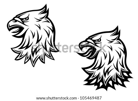Heraldic eagle head on two variations for medieval concept design, such logo. Jpeg version also available in gallery - stock vector