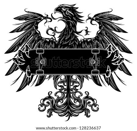 Heraldic eagle holding a skateboard - stock vector