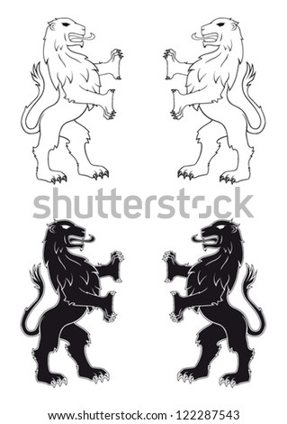 Heraldic lion isolated vector illustration in black and white without weapon shield - stock vector