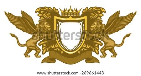 Heraldic Lions - stock vector