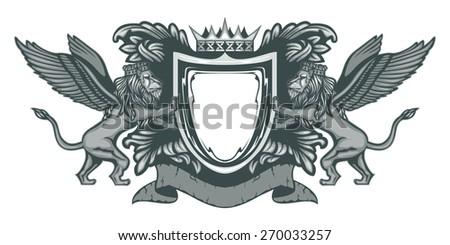 Heraldic Lions Silver - stock vector