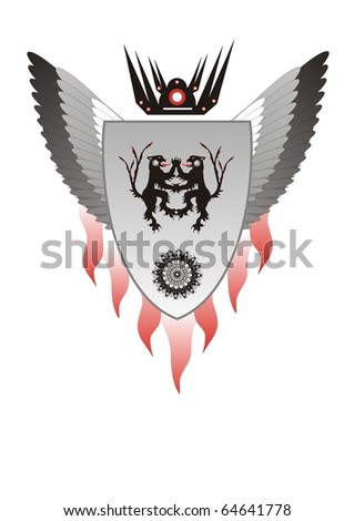 Heraldic lions with a shield and wings - stock vector