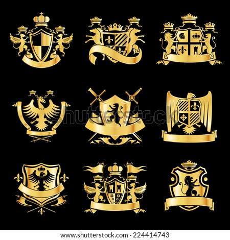 Heraldic royal art symbols decorative emblems golden set with griffin swords and ribbons isolated vector illustration - stock vector