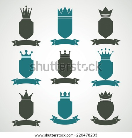 Heraldic royal blazon illustrations set - imperial striped decorative coat of arms. Collection of vector shields with king crown and stylish ribbon. Majestic element. - stock vector