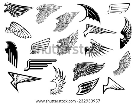 Heraldic vintage birds and angel wings set for tattoo, heraldry or religion design - stock vector