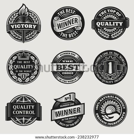 heraldic vintage sign sticker ribbon vector set - stock vector