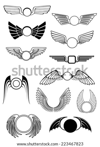 Heraldic wings set in various styles with wings open in flight, drooping wings and raised wings, some stylized others showing feather detail. For heraldry or emblem design - stock vector