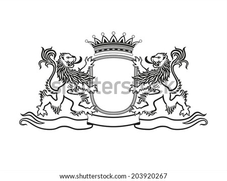 HERALDRY Crest with lions - stock vector