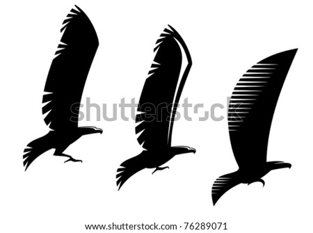 Heraldry eagle symbols and tattoo isolated on white, such a logo. Jpeg version also available in gallery - stock vector