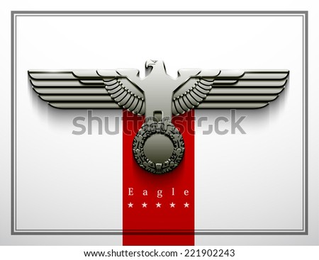 heraldry eagle wings vector Imperial isolated silhouette oak wreath parteiadler wehrmacht power force strength vigour greatness stainless steel heer - stock vector