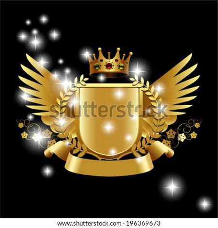 Heraldry elements with wings and ribbons for design - stock vector