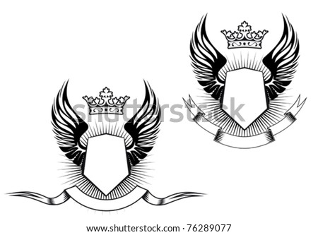 Heraldry elements with wings and ribbons for design. Jpeg version also available in gallery - stock vector