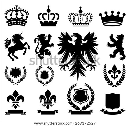 Heraldry Ornaments - Set of various heraldry ornaments, including crowns, animals, coat of arms, and banners. - stock vector
