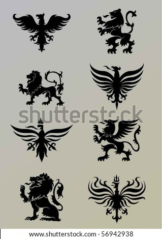 Heraldry set - stock vector